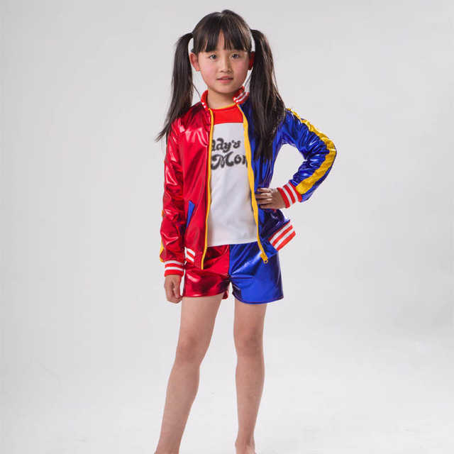 3 Pcs Kids Girls Suicide Squad Harley Quinn Costumes Coat Shorts Top Set  Halloween Cosplay Costume Suit Jacket+T Shirt+Shorts