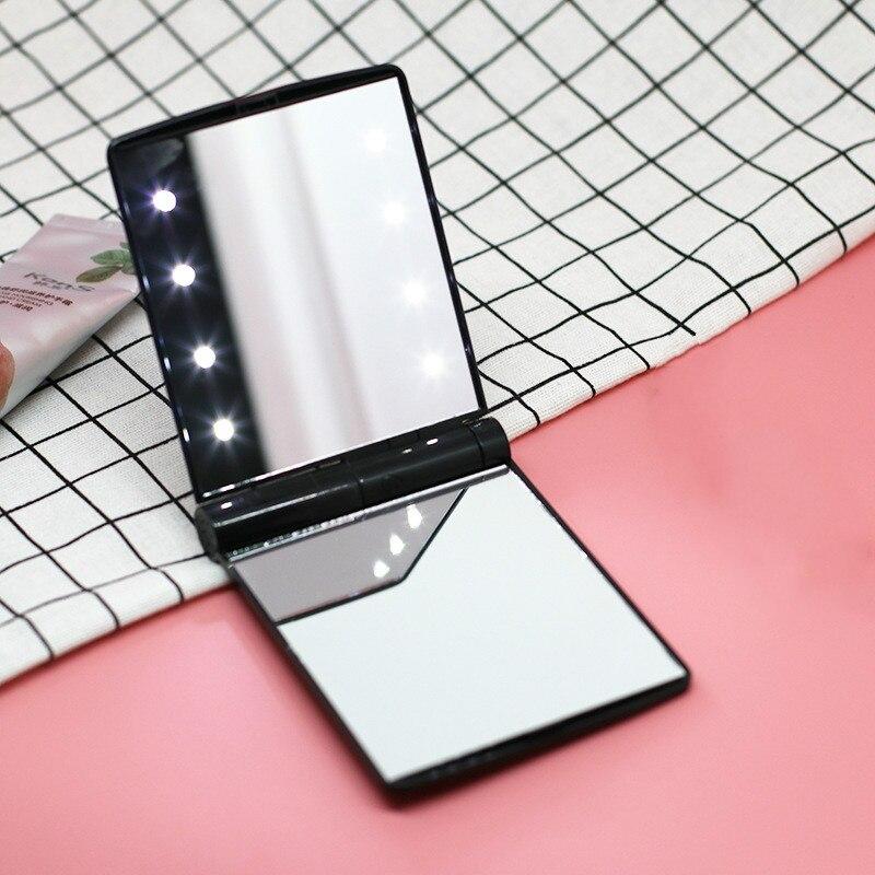 1 Pc Mini Frauen Damen Make-up-spiegel Kosmetik Folding Tragbaren Compact Tasche Mit 8 Led-leuchten Make-up Werkzeug Dekorative Spiegel Schrecklicher Wert