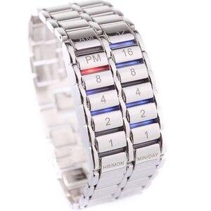 Image 2 - Neue Mode Digitale Uhr Coole Vulkanischen Lava Stil Eisen Faceless Binary LED Handgelenk Uhren für Männer Schwarz/Silber