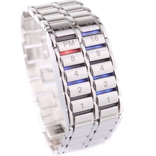 Volcanic Lava Style Faceless Binary LED Watches