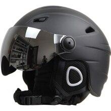 Лыжный шлем очки козырек для мужчин и женщин сноуборд шлем мото снегоход скейтборд защитный шлем маска зимний теплый флис Capacete