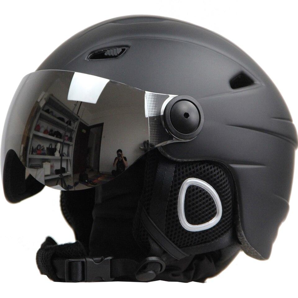 Casco de esquí gafas Visor de las mujeres de los hombres Snowboard casco de Moto de nieve monopatín casco de seguridad de invierno de lana caliente Capacete