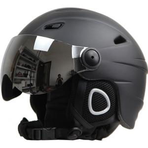 Image 1 - Ski Helm Bril Vizier Mannen Vrouwen Snowboard Helm Moto Sneeuwscooter Skateboard Helm Masker Winter Warm Fleece Capacete