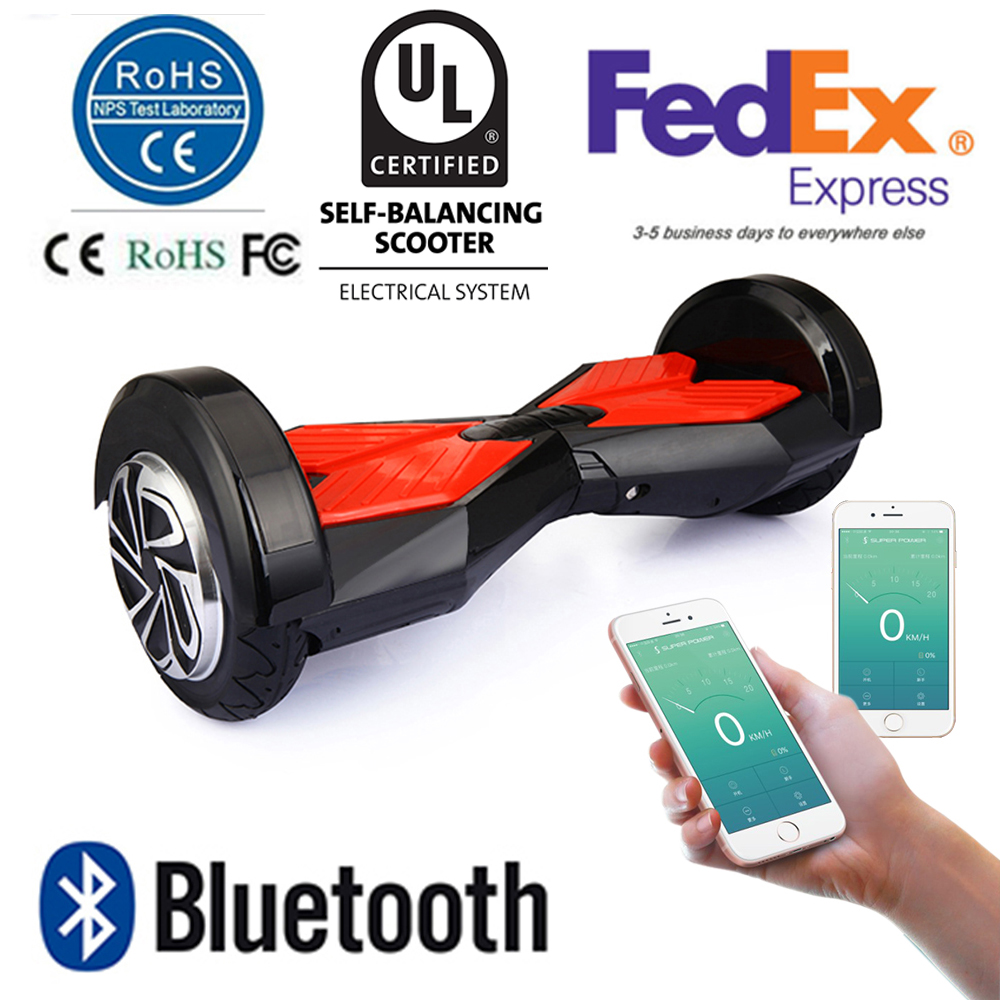 8 Inch UL Smart Balance Wheel Bluetooth Hoverboard Two Wheel Self Balance Wheel Scooter Remote Led Lights APP Control