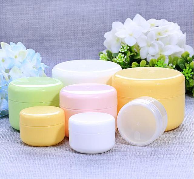 10g/20g/50g/100g botellas recargables plástico vacío tarro de maquillaje cara de viaje crema/loción/envase cosmético envío gratis