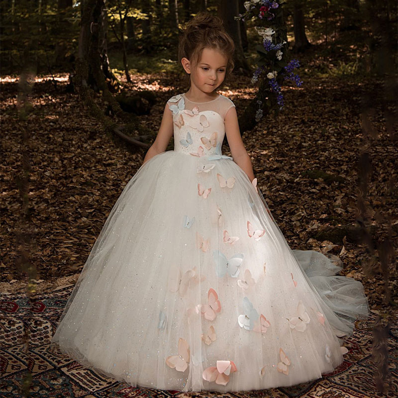 Fancy Butterfly Decoration Ivory Tulle Flower Girl Dress Sheer Neckline Cap Sleeves Kids Pageant Ball Gowns