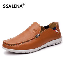 2018 High Quality Genuine Leather Men Dress Shoes Slip On Casual Business Men Male Comfortable Oxfords Formal Shoes AA20583
