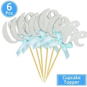 Image 3 - 6/10 Pcs גליטר נייר אחד Cupcake Toppers ראשון מסיבת יום הולדת קישוטי 1st יום הולדת שלי 1 שנה תינוק ילד ילדה וגינה