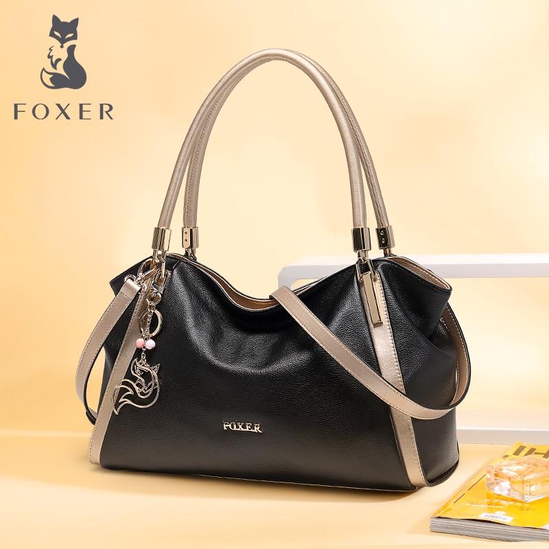 FOXER для женщин сумки из натуральной коровьей кожи сумка женская Роскошные Модные Мужская тотализаторов леди большой ёмкость Хобо сумк