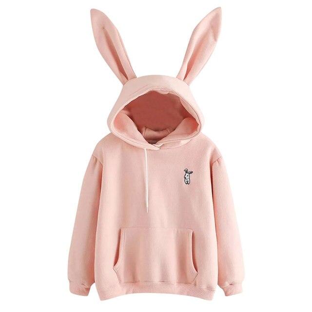 Spring Harajuku Hoodies Women Long Sleeve Rabbit Embroidered Sweatshirt Pullover Autumn Lovely Rabbit Ears Jumper