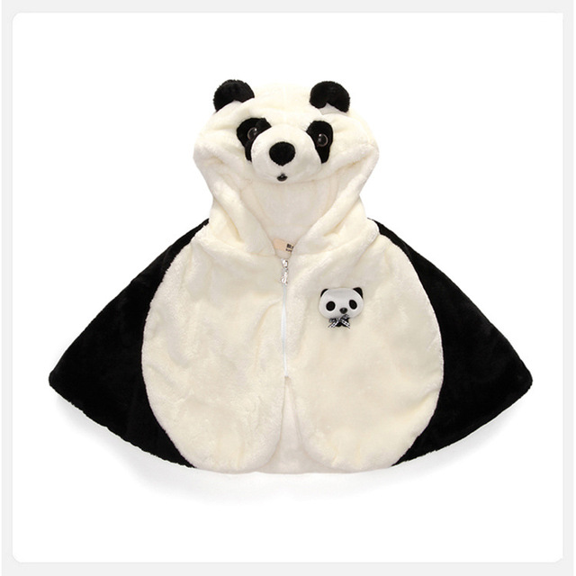 2017 Kids Coat For Girls cartoon panda baby Girls Cape Children Winter Cloak Coat For boys Cloak Jacket infants outerwear