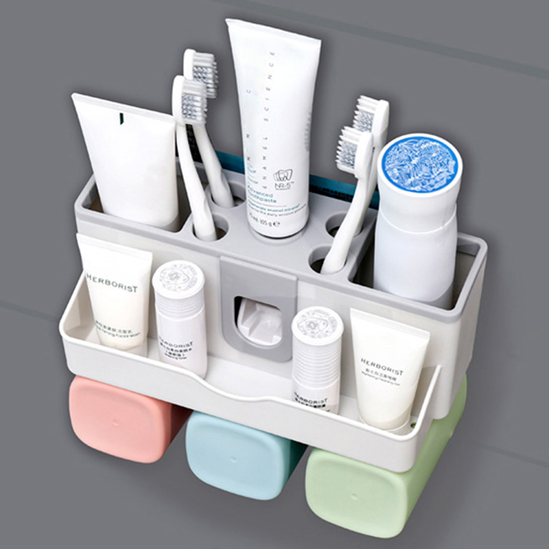 5 In 1 Creative Toothbrush Holder Bathroom Storage Toothbrushes Cup Rack Automatic Toothpaste Dispenser Makeup Organizer Set