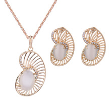 pearl Jewelry Sets For Women Hollow Out Water Drop Necklace Earrings Vintage Wedding Jewelry Set vintage solid color hollow out necklace for women