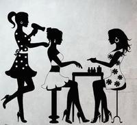 Салон красоты настенная виниловая наклейка сексуальные девушки ногтей Бар Декор парикмахер маникюр волос витрину glss украшения