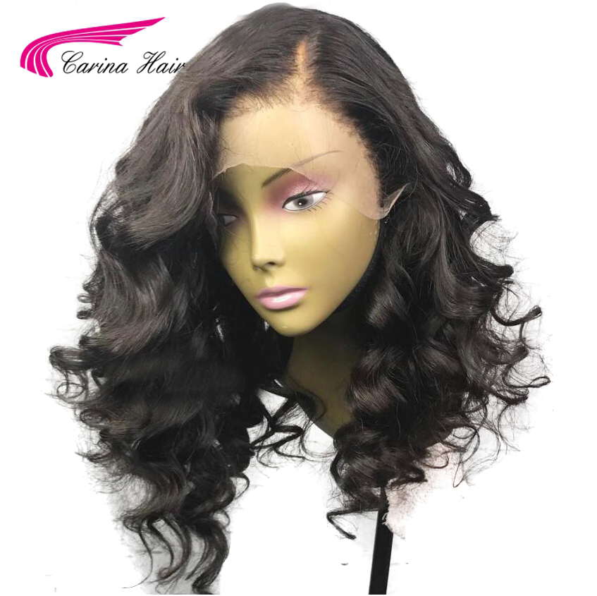 Carina Lace Front Human Hair Wigs with Baby Hair Side Part Glueless Wigs Loose Wave Brazilian