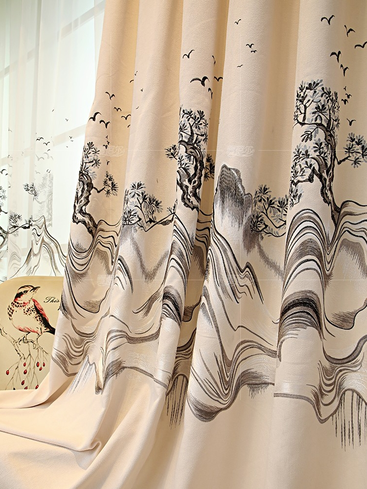 Custom curtains high quality luxury Chinese beige Chenille printed bedroom cloth blackout curtain tulle valance drape B447Custom curtains high quality luxury Chinese beige Chenille printed bedroom cloth blackout curtain tulle valance drape B447