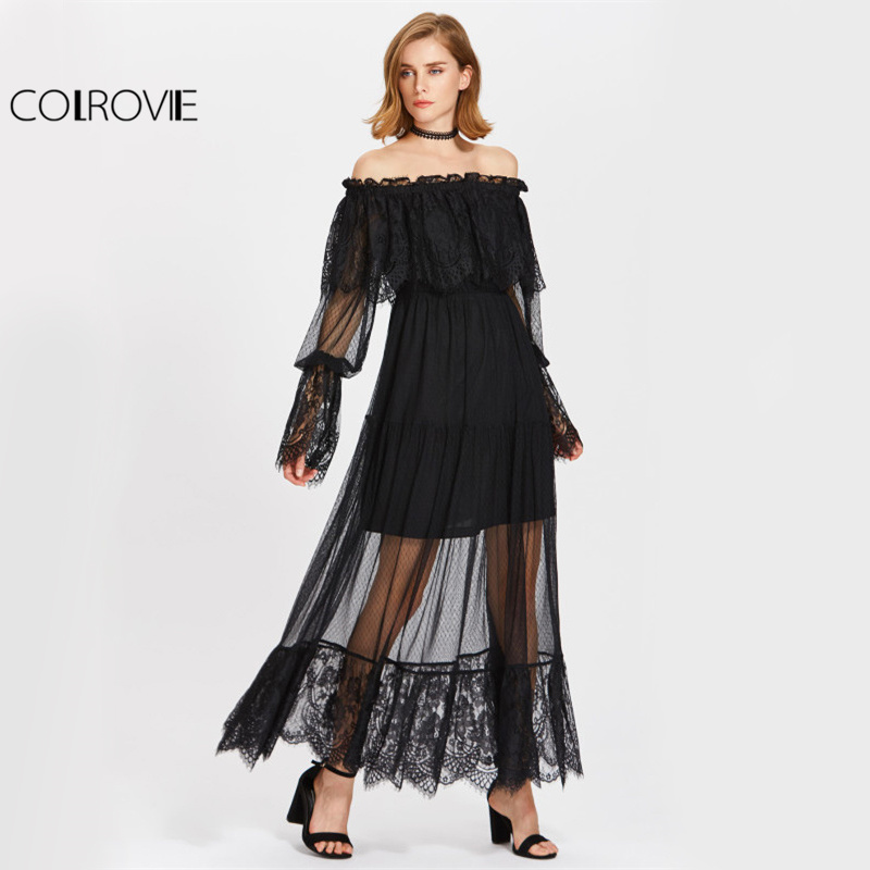 COLROVIE Vintage Lace Tiered Dress 2017 Sheer Overlay Women Black Off Shoulder Autumn Dress Ruffle Long Sleeve Maxi Boho Dress gothic lace up tiered women s long dress