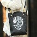 2016 Горячих Женщин Сумки PU Женщин сумка Черепа Заклепки Плеча сумки Большой Емкости Сумки Старинные Кошелек Бесплатная Доставка