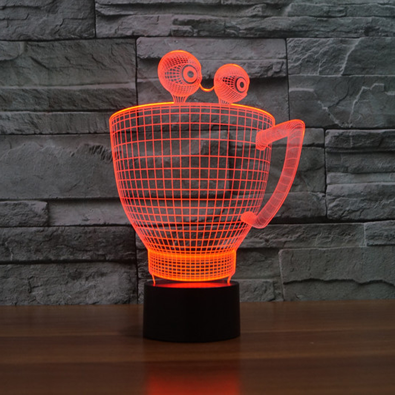 7 Color Changing Acrylic Creative 3D Eye Cup Shape Night Light Led Table Lamp Usb Atmosphere Baby Sleep Lighting Decor Kids Gift