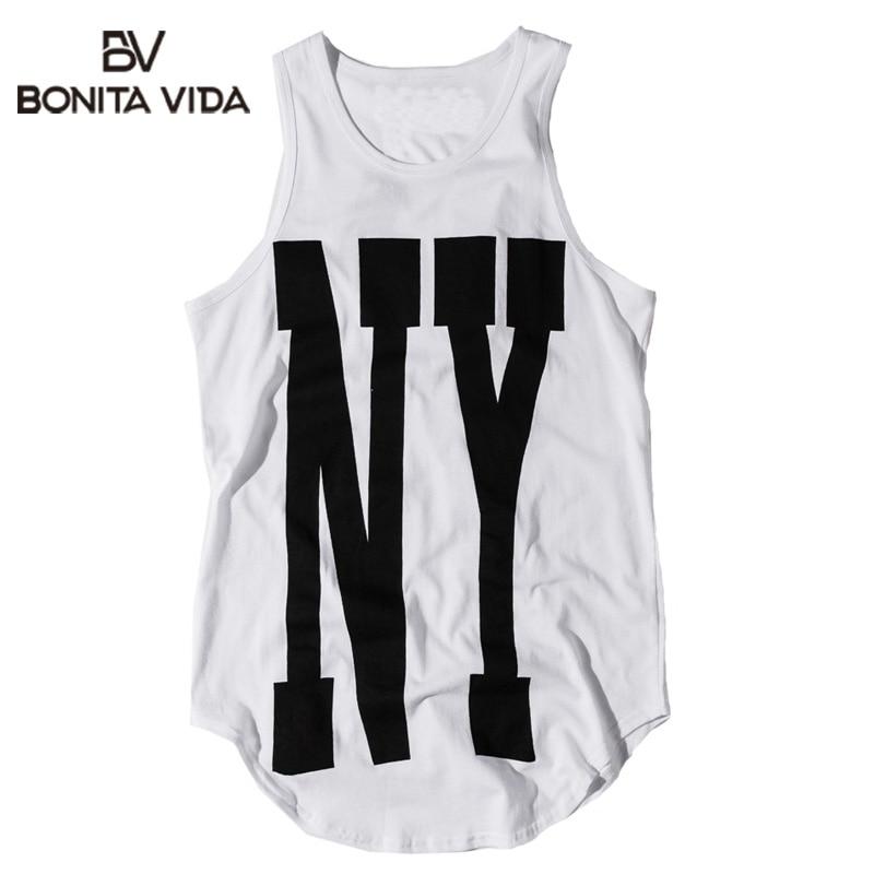 Bonita Vida Oversized Extended Urban Tank Tops Mens 2019 Summer 100% Cotton Streetwear Casual Sleeveless Tops For Men