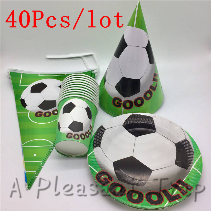 40pcs/lot Party Supplies Football World Cup Theme Toy Cap Birthday Party Banner Set Childrens Favorite Disposable Paper Cups