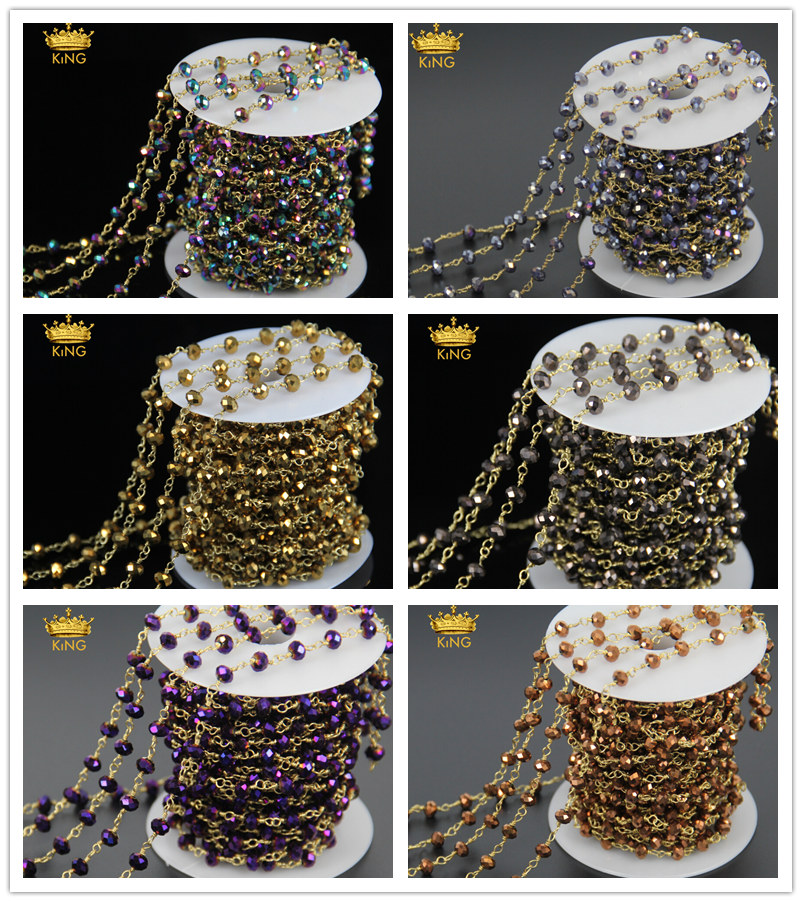 Fashion Titanium Multicolor Rondelle Beads Faceted Shape Rosary Style Bronze Plated Chain Rosary Jewelry Hot Sale JD0145Fashion Titanium Multicolor Rondelle Beads Faceted Shape Rosary Style Bronze Plated Chain Rosary Jewelry Hot Sale JD0145