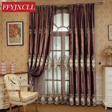 Purple Blackout Curtains Cloth For living Room Bedroom Window Floral Embroidered Drapes Decoration
