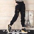 Novio Agujero Rodilla Harem Jeans Para Mujeres Elástico Cintura Ripped Jeans Mujer Pantalones de Mezclilla Sueltos Negro/Blanco/Azul