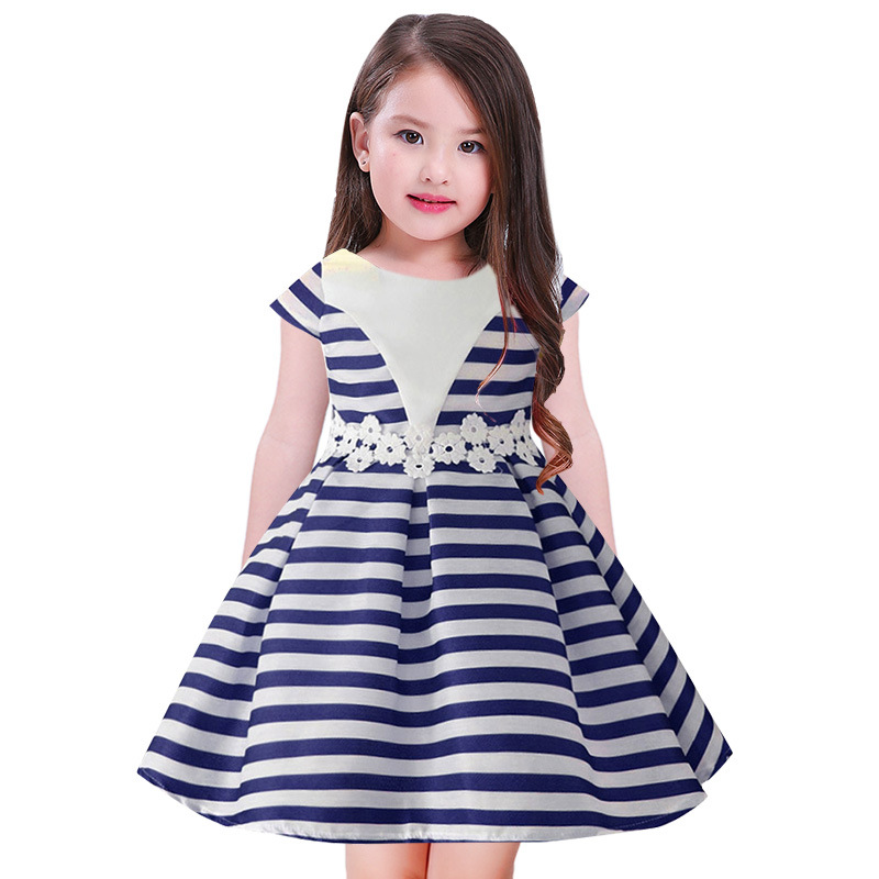 Striped Cotton Summer Dress For Girls Kids Prom Wedding Party Dresses Ball Gown baby Girl Pageant Dress Vestidos 1 2 3 4 5 6 7 Y 15 color infant girl dress baby girl pageant dress girl party dresses flower girl dresses girl prom dress 1t 6t g081 4