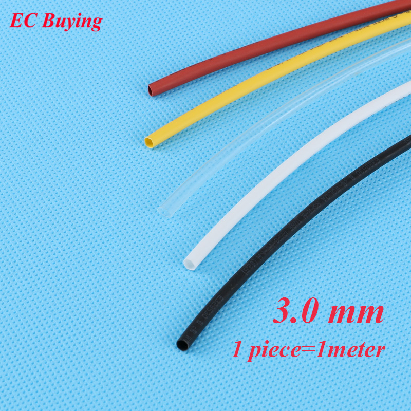 1m /pcs 3 Mm Heat Shrink Tubing Wire Wrap Heat-Shrink Tube 2:1 Thermo Jacket  Insulation Matierial Black White Yellow Clear Red