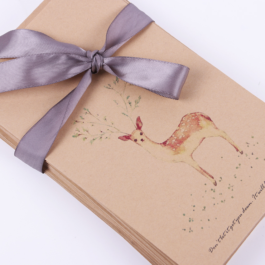 10 PCS Cute Kraft Paper Retro Deer Envelope Vintage DIY Gift Card Scrapbooking Crate Stationery Gift