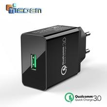 TIEGEM Quick Charge 3,0 USB настенное зарядное устройство адаптер 18 Вт EU US Plug Универсальное зарядное устройство для мобильных телефонов для samsung iphone 7