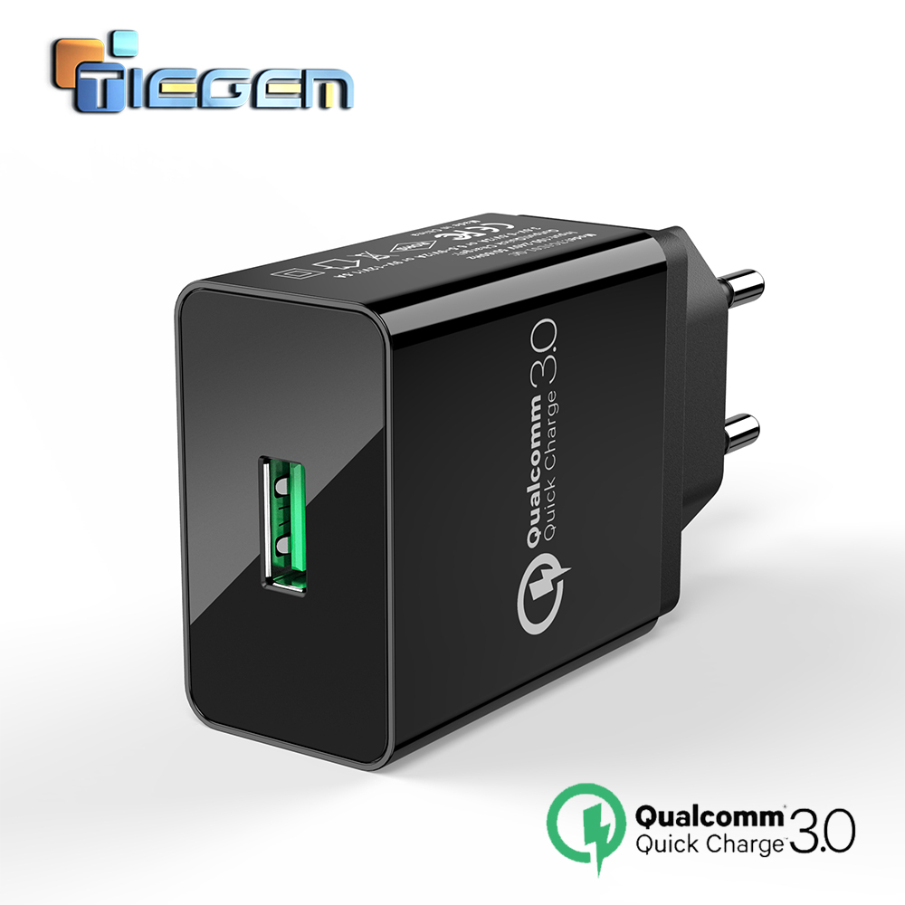 TIEGEM Quick Charge 3.0 USB Wall Charger Adapter 18W EU US Plug Universal Travel Mobiltelefonopladere til Samsung til iphone 7