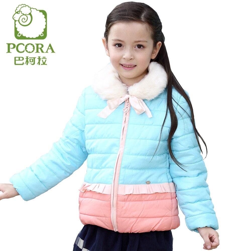 PCORA Kids Girls Cotton Padded Coat Winter Thick Zipper Closure Detachable Fur Collar Jackets for 4T~14T Teens Children Girls