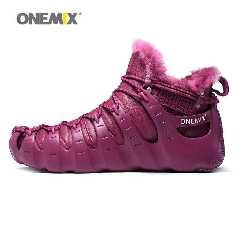 Onemix Women Boots Outdoor Walking Shoes Woman Outdoor Trekking Sneakers Wool Fur Winter Warm Split and Combine Size 36 to 46