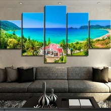 Modular 5 Piece HD Print Large Island View Cuadros Landscape Canvas Wall Art Home Decor For Living Room Painting(Frame)