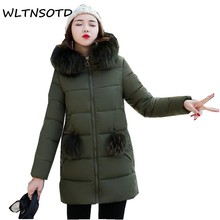2017 new women womter large fur collar long  cotton zipper jacket female loose thickening hooded With hair ball cotton warm coat