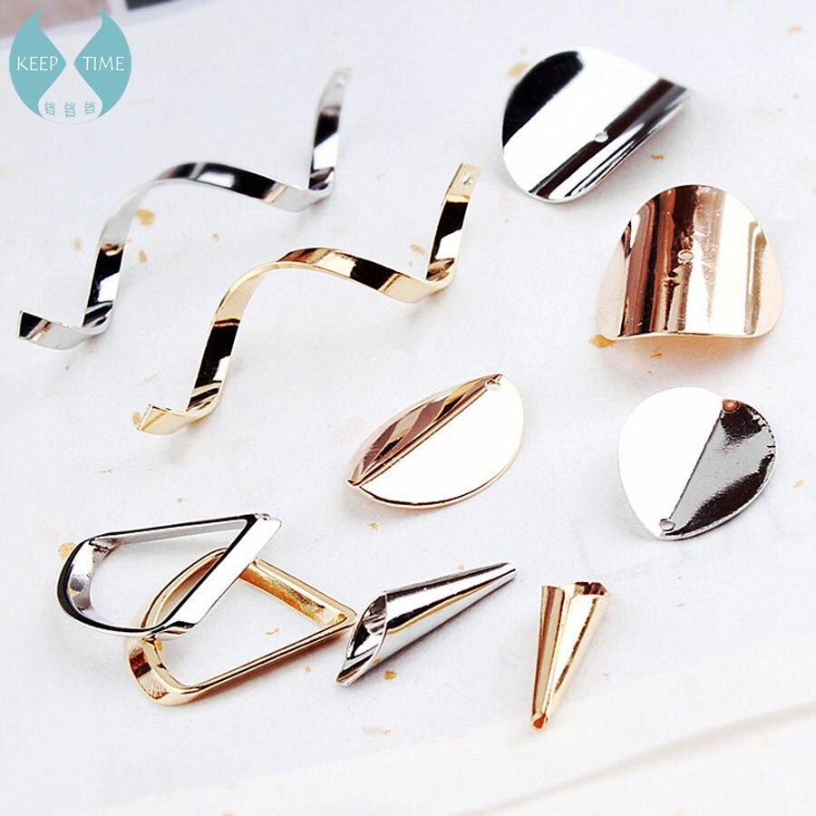 Copper Environmental Protection Electroplating Accessories DIY Handmade Korea Simple Long Wave Water Drop Earrings Materials
