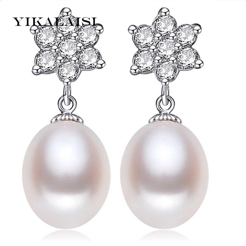 a75326e45f21 Yikalaisi 2017 perla natural joyería larga Pendientes para las mujeres  perla plata 925 joyería Pendientes boda