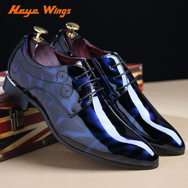 Heye Wings Pionted Toe Patent Leather Shoes Red Black Dress Wedding Mens Flats Oxford plus size 48