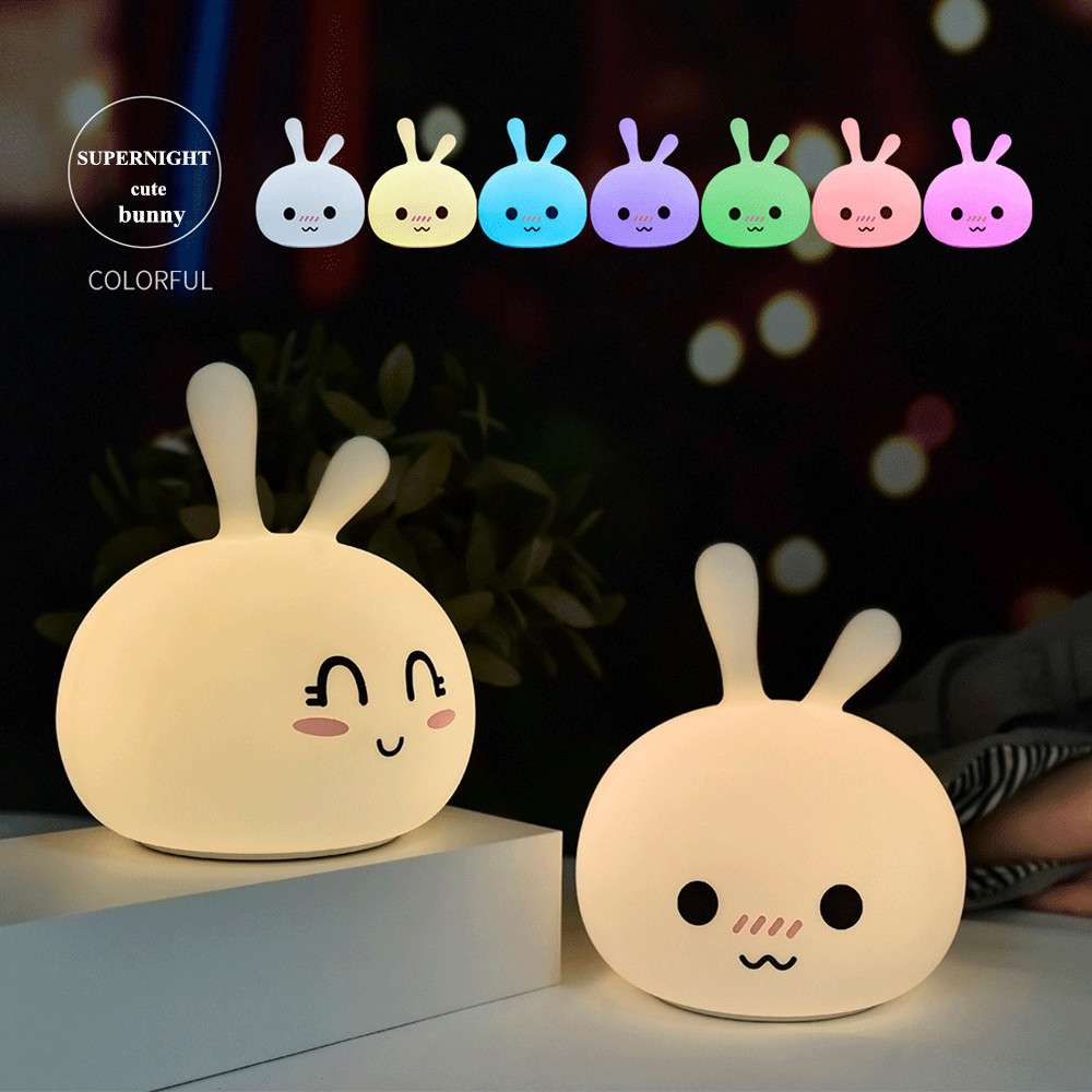Cartoon Rabbit LED Night Light Touch Sensor Colorful USB Rechargeable Silicone Bunny Bedroom Bedside Lamp for Children Kids BabyCartoon Rabbit LED Night Light Touch Sensor Colorful USB Rechargeable Silicone Bunny Bedroom Bedside Lamp for Children Kids Baby