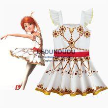Summer Childrens Red Print Dress Movie Ballerina Felicie Cosplay Costume Kid Baby Girls Sleeveless Dress