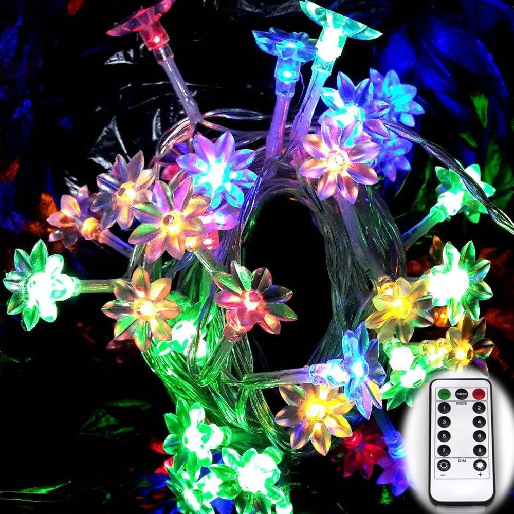 Lotus Wedding Flower 6M 60 LED Fairy String Light Inomhus / Utomhus Använd Party String Christmas Holiday Garland Lights