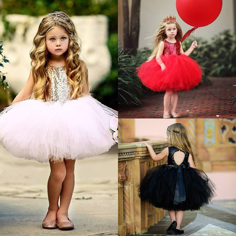 Fashion baby girl dress Toddler Kids Girl Heart Sequins Party Princess Tutu Tulle Dress Outfits Fashion Sleeveless Dresses