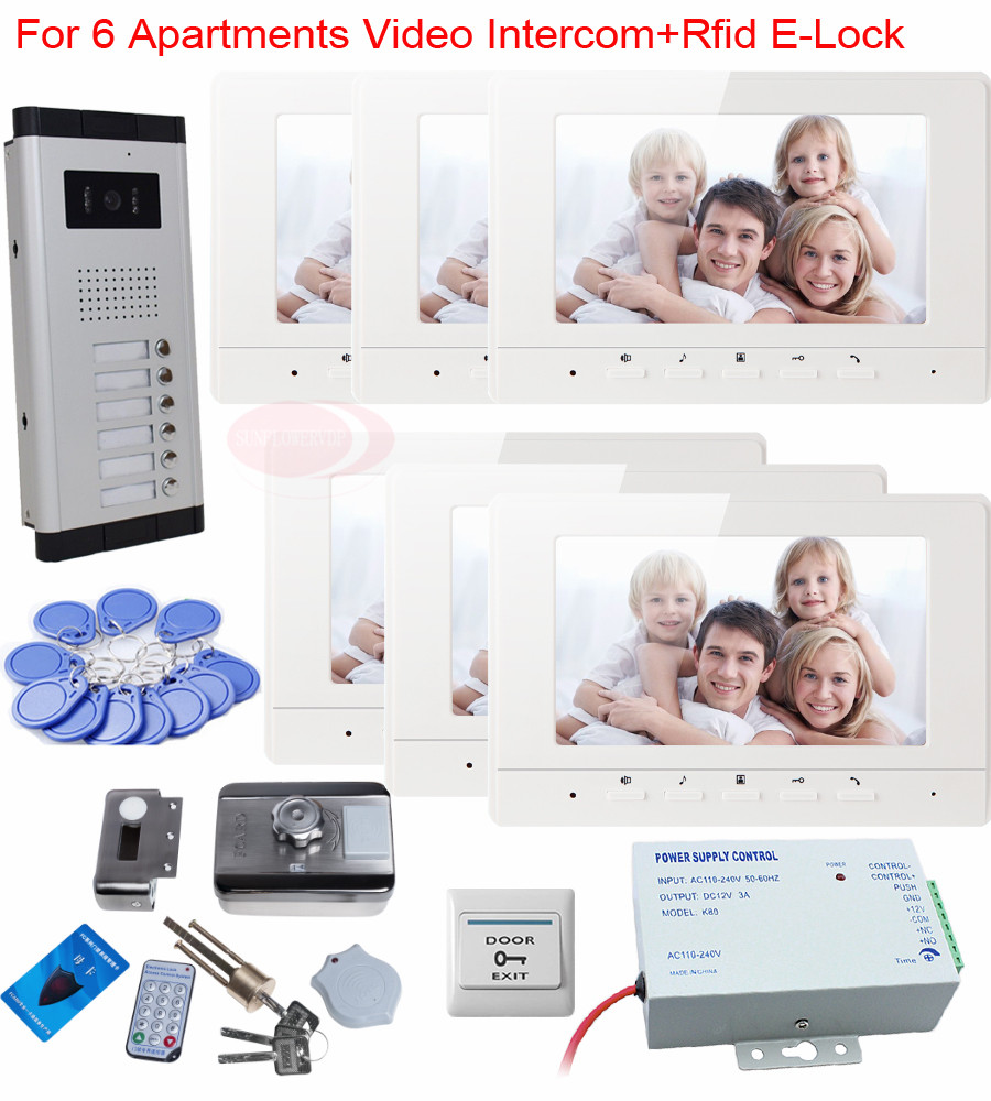 Video Phone Intercom With Door Rfid Electric Lock Intercom Camera Video Doorbell For 6 Apartments 7inch Color Tft Lcd Monitor rfid keyboard ip65 waterproof video doorphone intercom system for 3 apartments with 7 color lcd video intercom system in stock