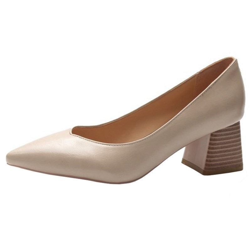 SLHJC Med Square Heel Leather Pumps Women Pointy Toe Slip On Casual Formal OL Office Lady Shoes Chunky Heels Shoes 5 CM