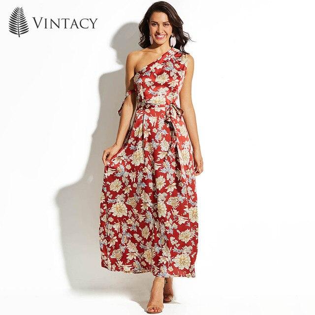 110358a6e Vintacy mujeres long Maxi vestido floral rojo playa cremallera otoño flor  Encaje-up 2018 moda