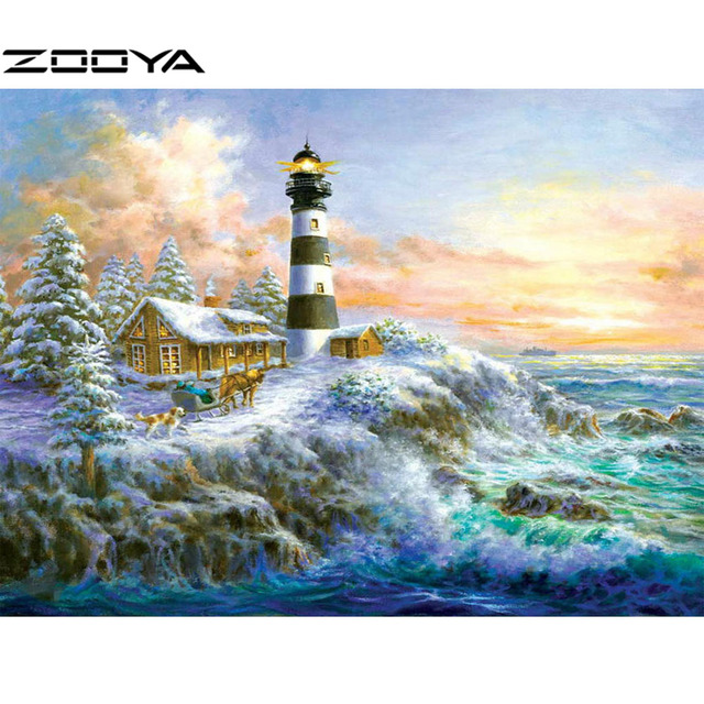 Diy Berlian Lukisan Pemandangan Rumah Di Pantai Berlian Bordir Bunga