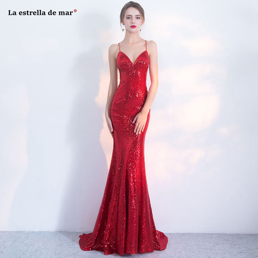 Robe demoiselle d'honneur2018 newV neck back sexy mermaid red sequins bridesmaid dresses long beautiful gaun pesta dewasa