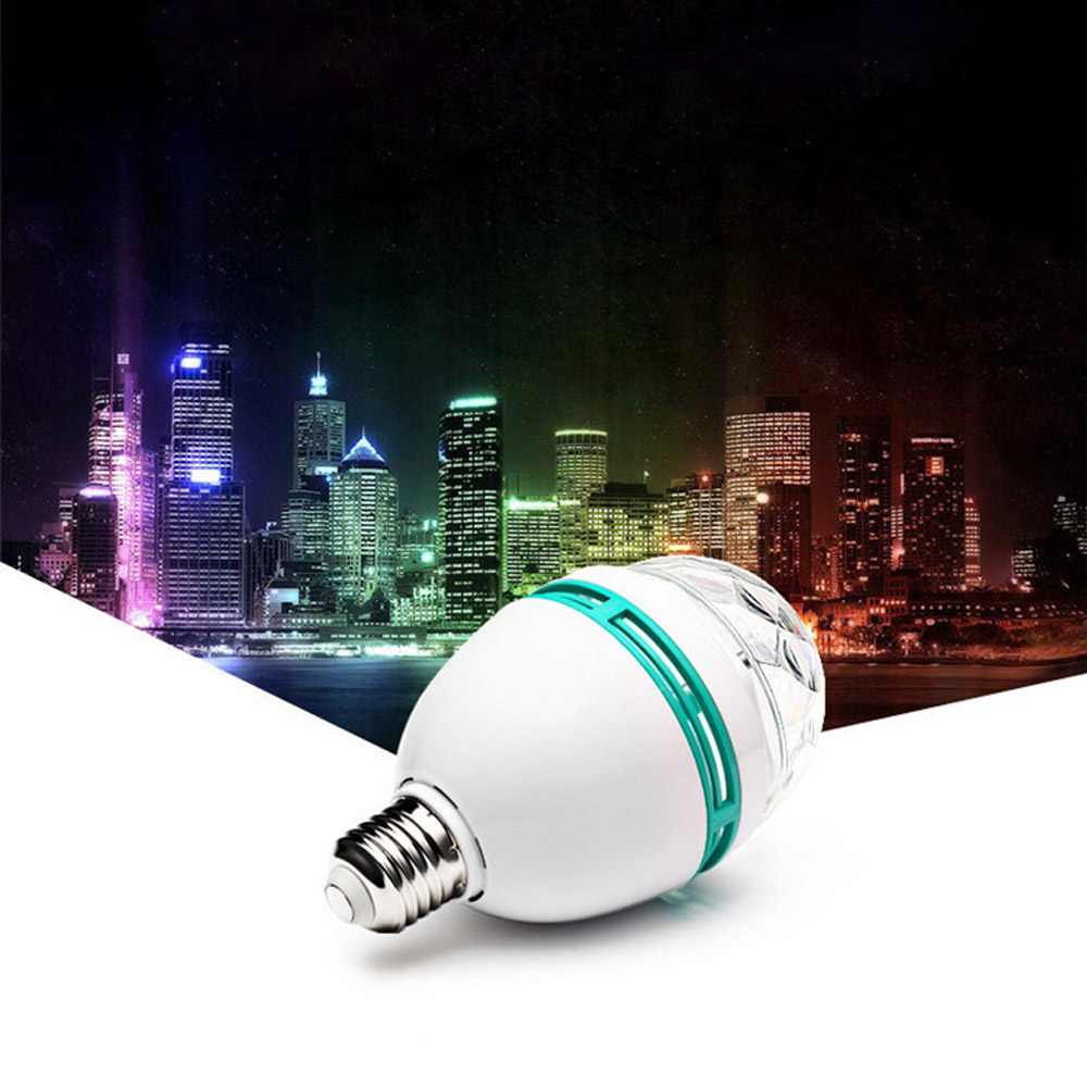 E27 3W LED Rotating Disco Light Bulb RGB Projector Crystal Stage Party Lights For DJ Bars Birthday Party Effect Multi-Color Bulb rg mini 3 lens 24 patterns led laser projector stage lighting effect 3w blue for dj disco party club laser